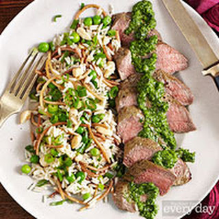 Lamb Loin with Green Chile-Mint Chimichurri and Marcona Almond Rice Pilaf