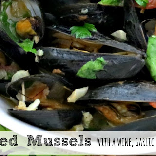 Mussels Steamed in a Wine, Garlic and Tomato Broth