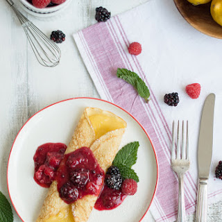 French Crêpes With Lemon Curd & Fresh Berries.