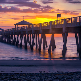 Juno Beach Sunrise by Sandy Friedkin - Buildings & Architecture Bridges & Suspended Structures ( water, smooth, juno beach, ocean, beach, sunrise, oier,  )