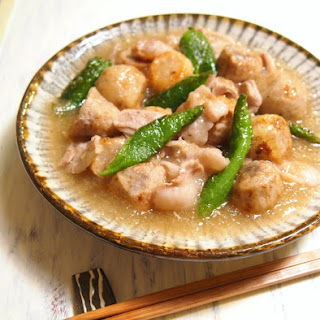 Simmered Taro Root and Pork Belly in Mizore-An Sauce (Sauce with Grated Daikon Radish)