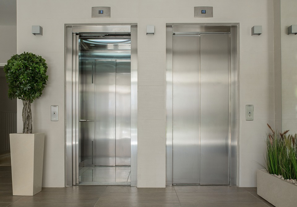 Elevators, Lobby, Entrance, New Building, Interior