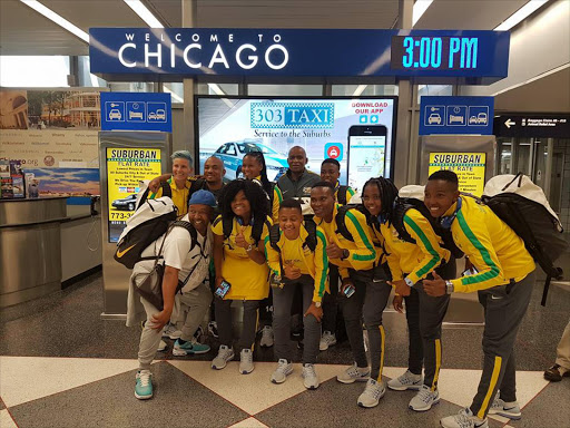 Banyana Banyana players pose for photos upon their arrival at Chicago Airport. The South African senior women's national team will play their USA counterparts on Saturday 9 July 2016.