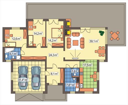 Agatka wersja A dach 22 stopnie - Rzut parteru