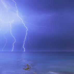 Bousoulas Beach Lightnings by Fokion Zissiadis - Landscapes Starscapes ( night photography b beach lightning )