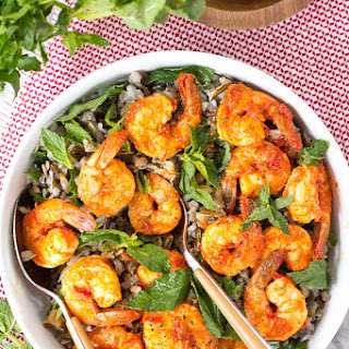 Cold Wild Rice Salad with Harissa Shrimp and Mint.