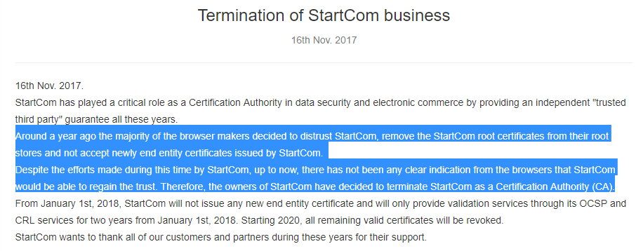 Chấm dứt StartCom