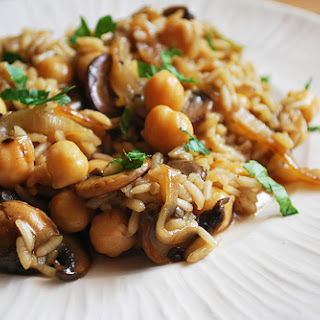 Risotto with Caramelized Onions, Mushrooms, and Chickpeas.