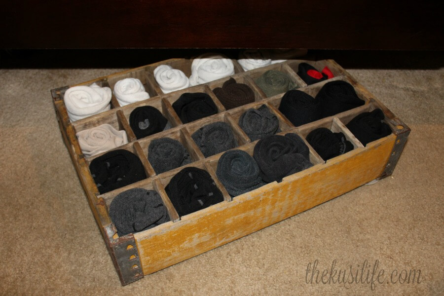 Use a vintage soda crate to organize your socks in style! From See The Happy. See all the Best Crafts of 2018 from more of your favorite bloggers at Halfpint Design.
