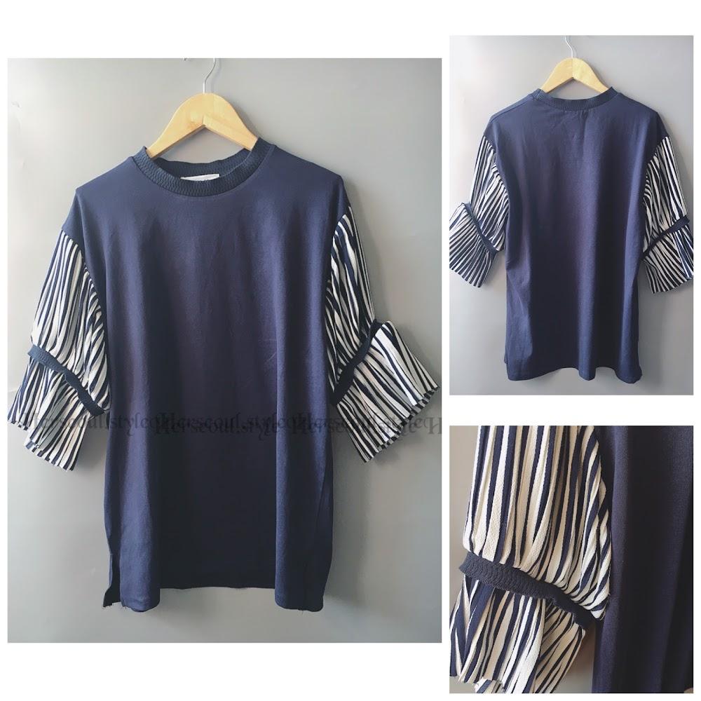 🈹💙藍色雪紡束袖top 💙
