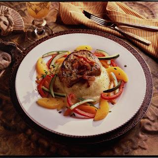 Grilled Boneless Pork Chops With Pancetta-Shallot Crust.