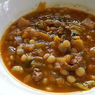 Vegetable Beef Couscous Soup.