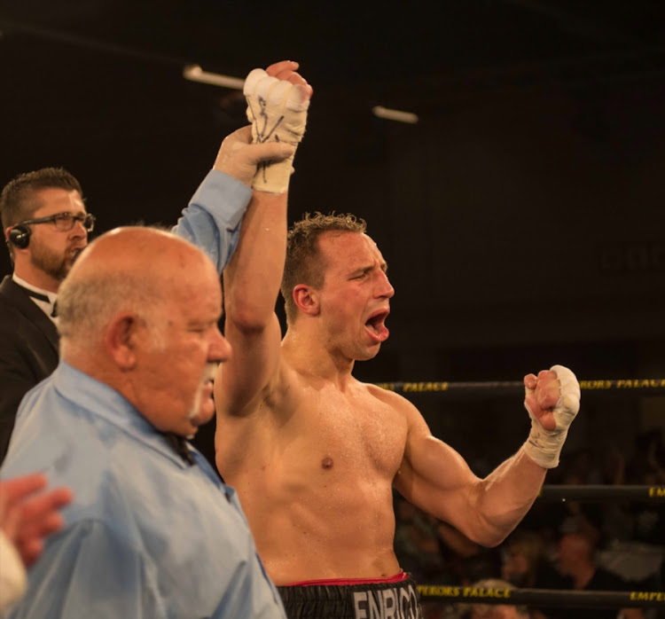 A triumphant Ryno Liebenberg after his light heavyweight bout with Enrico Koelling at Emperors Palace on February 04, 2017 in Johannesburg, South Africa.