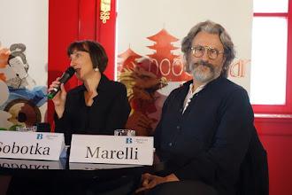 Photo: Bregenzer Festspiele/ Pressekonferenz am 27.5.2015 im Cercle Wien. Intendantin E. Sobotka, Marco Arturo Marelli. Foto: Peter Skorepa