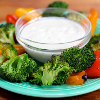 Roasted vegetables with creamy Meyer lemon dipping sauce