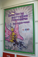 Photo: An anti-aids poster of a butterfly having sex with an ant...yeah, we saw some weird posters in Europe.