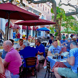 Dining Out by Victoria Eversole - City,  Street & Park  Historic Districts ( city leisure, miami beach, cafe eating, people )