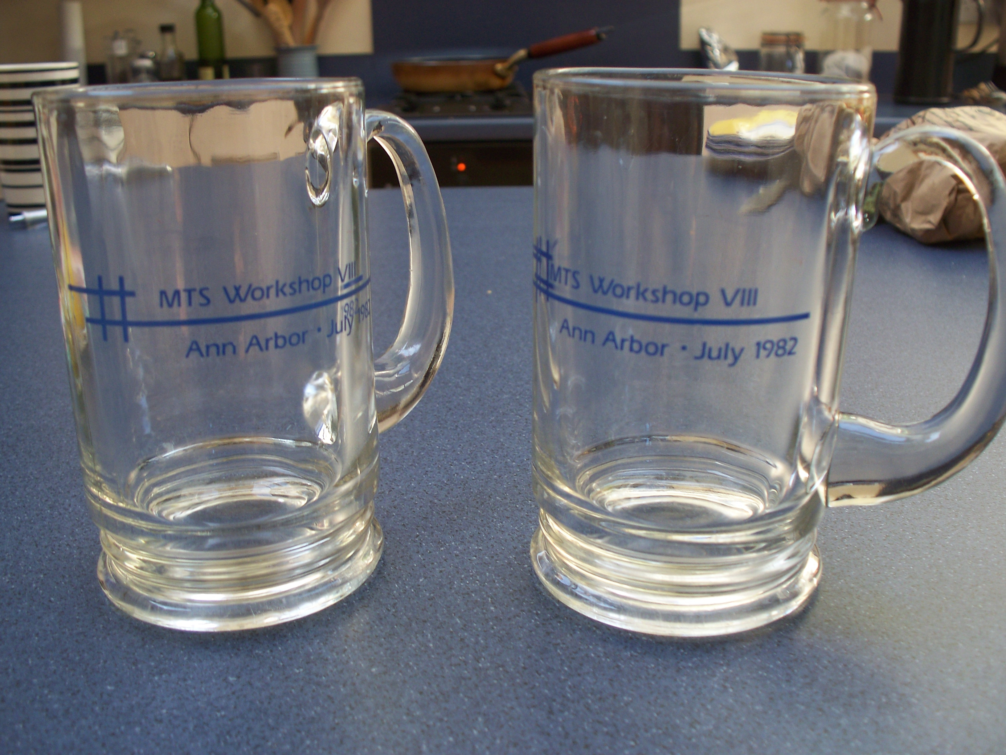 Photo: Mugs from MTS Workshop VIII, Ann Arbor, 1982 (from the collection of George R. Helffrich, Bristol, England, photograph by Shifrah Nenner, October 2010)