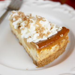 Layered Pumpkin Pie Toffee Cheesecake.