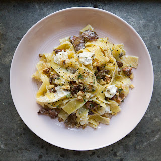 Pappardelle with Mixed Mushrooms, Ricotta, and Walnuts