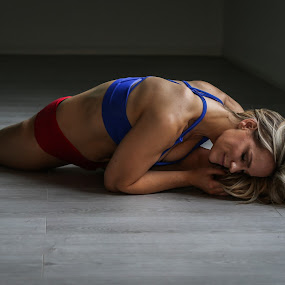 Peaceful Stretch  by Ben Rohleder - Sports & Fitness Fitness ( calm, natural light, blonde, peaceful, girl, splits, mindful, flexibility, stretching, yoga )