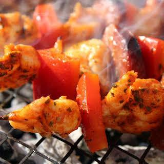 Spicy BBQ prawn & chorizo skewer.