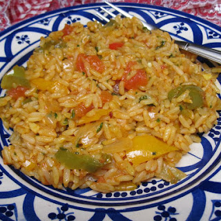 Spicy Moroccan Rice with Tomatoes and Peppers.