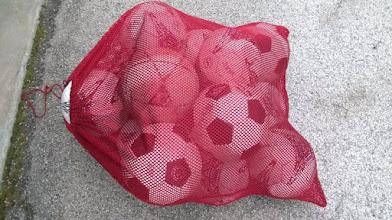 Photo: Soccer balls in red net bag