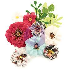 Prima Midnight Garden Mulberry Paper Flowers 12/Pkg - Sunset UTGÅENDE