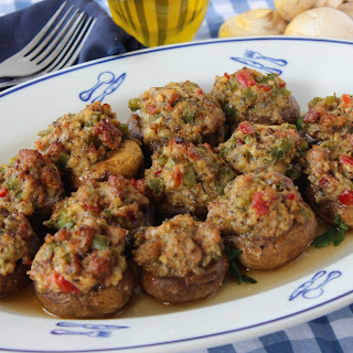 Mushrooms Stuffed with Italian Sausage and Peppers