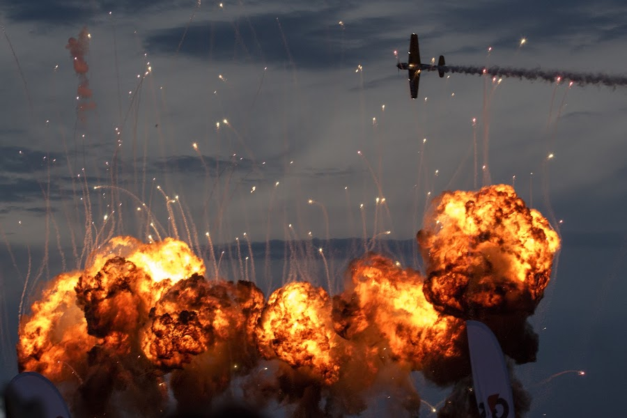 Of Fire and Sky by Ruxandra Antal - Transportation Airplanes ( flight, sky, wings, airplane, fireworks, smoke, fire, airshow )