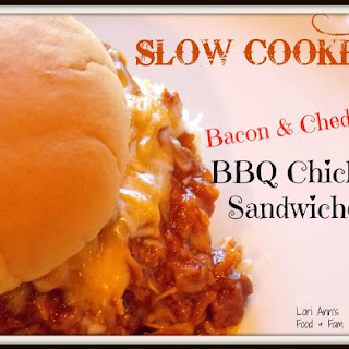 Slow Cooker BBQ Bacon & Cheddar Chicken Sandwiches.