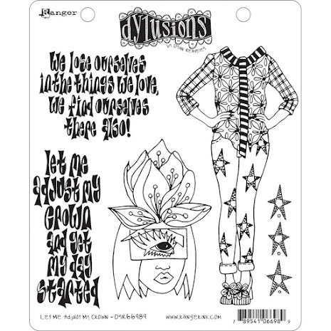 Dylusions Cling Stamps 8.5X7 - Let Me Adjust My Crown