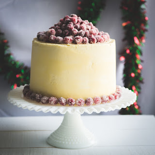Christmas White Chocolate Cranberry Layer Cake