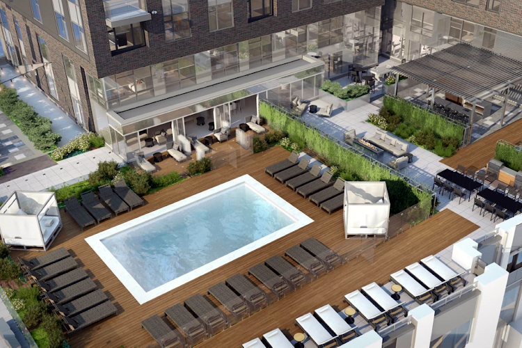 Luxury pool at Global Luxury Suites in South End
