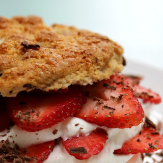Strawberry & Rhubarb Chocolate Chip Shortcakes.