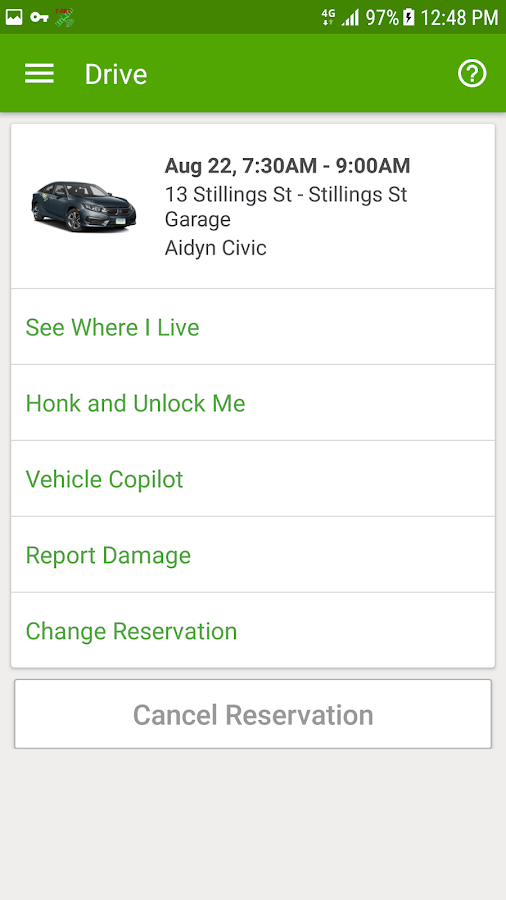 Zipcar- screenshot