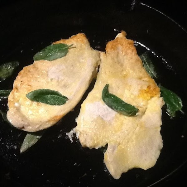 PLACE IN PAN N COOK FOR 3 MINUTES THEN FLIP N ADD 1/2 SAGE...
