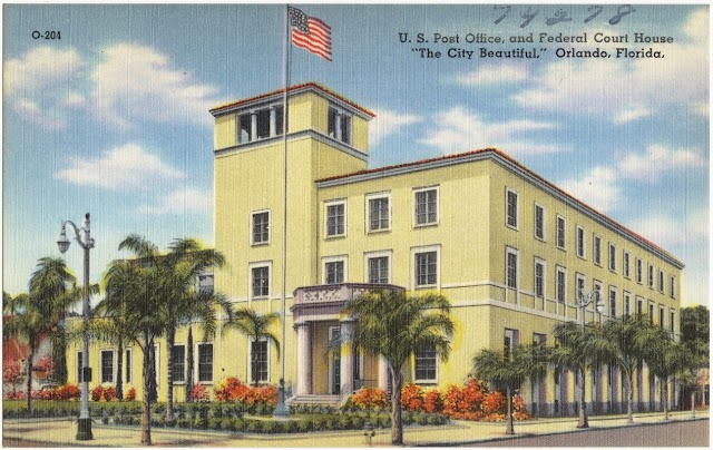 Old postcard, Orlando post office