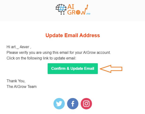 AiGrow confirm Email