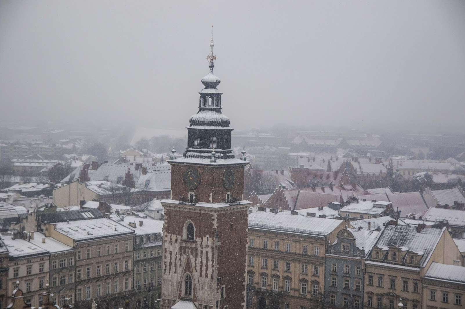 town hall tower in winter