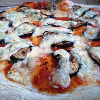 Grilled Eggplant and Fresh Basil Vegetarian Pizza.