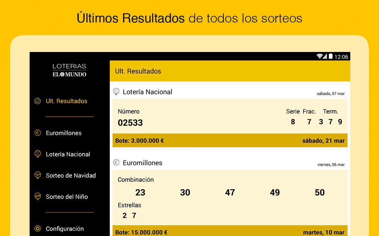 El Mundo Loterías - Resultados - screenshot