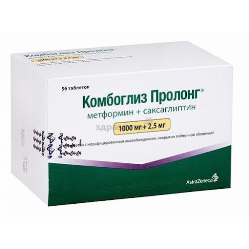 Комбоглиз пролонг таблетки п.п.о. с модиф. высвоб. 1000мг+2,5мг 56 шт.