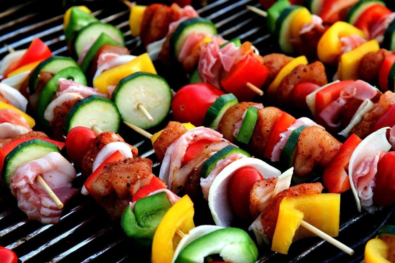 A picture containing kabob, food, dish, sushi  Description automatically generated
