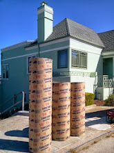 Photo: A few of the sonotubes (at top of site) waiting to be hand-installed as part of erosion-control work currently underway by San Francisco Department of Public Works employees in the final area of Hidden Garden Steps site (16th Avenue, between Kirkham and Lawton streets in San Francisco's Inner Sunset District) in need of attention before the Hidden Garden Steps 148-step ceramic-tile mosaic designed and created by artists Aileen Barr and Colette Crutcher is installed. For more information about this volunteer-driven community-based project supported by the San Francisco Parks Alliance, the San Francisco Department of Public Works Street Parks Program, and hundreds of individual donors, please visit our website at http://hiddengardensteps.org.