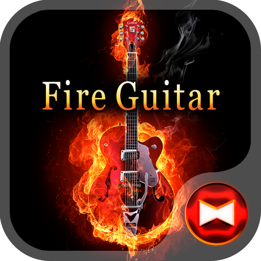 Stylish Theme Fire Guitar Icon