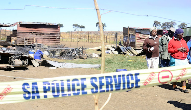 The scene where seven relatives including a baby lost their lives in a shack fire at Senthumile informal settlement.