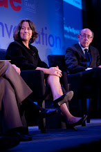 """Photo: Sheila Bair and Kenneth Feinberg during the """"Financial Regulation: Fixing Too Big to Fail"""" panel discussion Friday, Nov. 16, 2012 at the RAND Politics Aside event in Santa Monica, Calif."""
