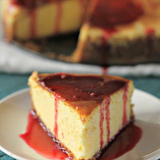Light and Fluffy Cheesecake with Raspberry Sauce